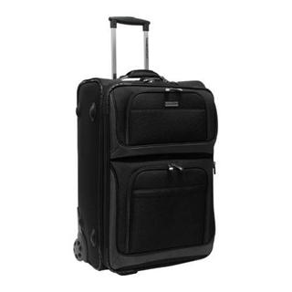 Traveler's Choice Black Conventional II 26-inch Rugged Wheeled Upright Suitcase