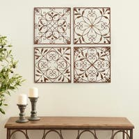 Studio 350 4-iece Antique-finish Brown Iron Square Wall Decor Set