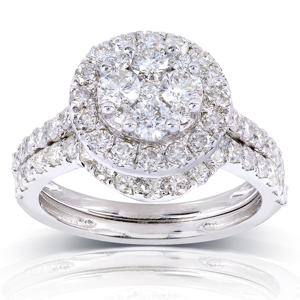 Annello by Kobelli 14k White Gold 1 1/3ct TDW Round Diamond Cluster 2-Ring Bridal Set (H-
