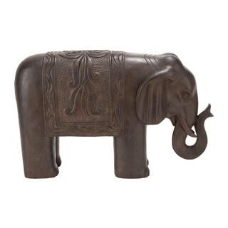 17-inch High Polystone Elephant Decor