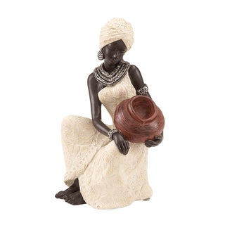 African Woman Table Top Polystone Sculpture