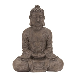 31-inch Sitting Buddha Polystone Table-top Sculpture