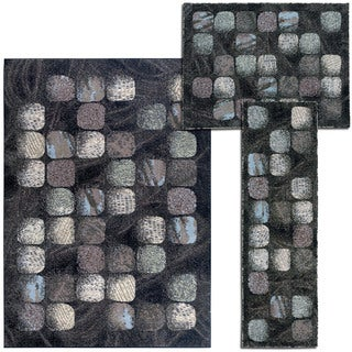 Nourison 'Cobble Stone' Collection Charcoal 3-piece Rug Set
