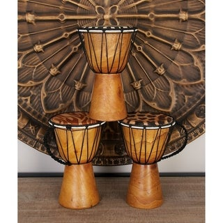 Varnished Wood Decorative Drum (Set of 4)