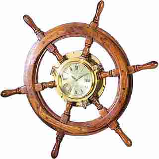 Wood/ Brass Ship Wheel Clock