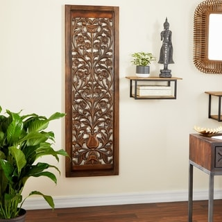 Traditional 63 x 20 Inch Wooden Floral Scroll Wall Panel by Studio 350
