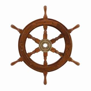 Wood Brass 18-inch Ship Wheel