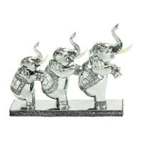 The Curated Nomad Merced Three Elephants Silver Conga Sculpture