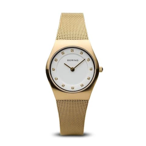 BERING Classic Slim Watch with Sapphire Crystal & Gold Stainless Steel Strap