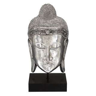 Textured Silver Meditating Buddha Head Sculpture