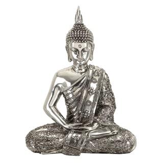 Sitting Buddha Reflective Silver Statue