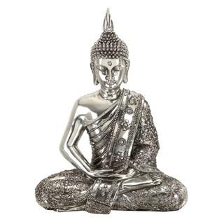 Copper Grove Tai Po Kau Sitting Buddha Reflective Silver Statue