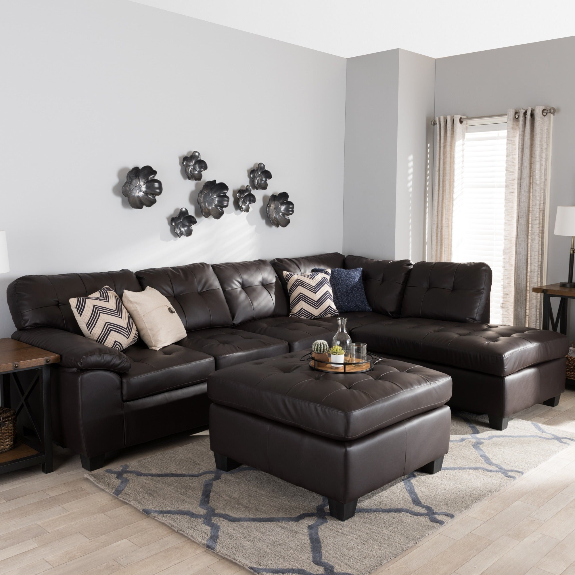 Magnificent Baxton Studio Mario Brown Leather Sectional Sofa With Ottoman Squirreltailoven Fun Painted Chair Ideas Images Squirreltailovenorg