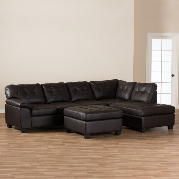 Baxton Studio u0027Mariou0027 Brown Leather Sectional Sofa with Ottoman - Free Shipping Today - Overstock.com - 15899835 : brown leather sectional with ottoman - Sectionals, Sofas & Couches