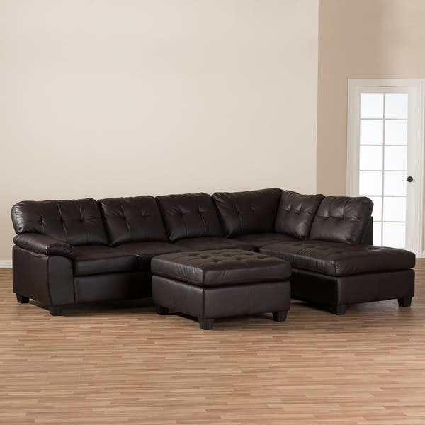 Tremendous Shop Baxton Studio Mario Brown Leather Sectional Sofa With Squirreltailoven Fun Painted Chair Ideas Images Squirreltailovenorg
