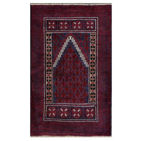 Herat Oriental Hand Tufted Wool Red Black Area Rug: Herat Oriental Afghan Hand-knotted Tribal Balouchi Wool