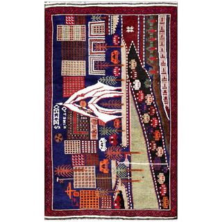Herat Oriental Afghan Hand-knotted Tribal Balouchi Navy/ Ivory Wool Rug (3' x 4'9)