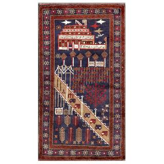 Herat Oriental Afghan Hand-knotted Tribal Balouchi Wool Area Rug (2'8 x 4'9)