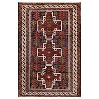 Handmade Herat Oriental Afghan Tribal Balouchi Wool Area Rug (Afghanistan) - 2'9 x 4'2