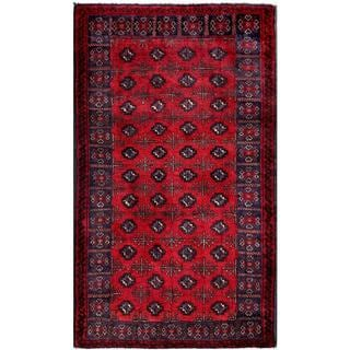 Herat Oriental Afghan Hand-knotted Tribal Balouchi Red/ Navy Wool Area Rug (2'11 x 5'1)