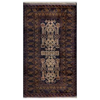 Herat Oriental Afghan Hand-knotted Tribal Balouchi Navy/ Ivory Wool Rug (2'9 x 4'10)