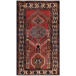 Herat Oriental Afghan Hand-knotted Tribal Balouchi Pink/ Navy Wool Area Rug (2'7 x 4'5)
