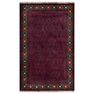 Herat Oriental Afghan Hand-knotted Tribal Balouchi Wool Area Rug (2'11 x 4'9)