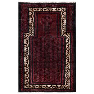Herat Oriental Afghan Hand-knotted Tribal Balouchi Wool Area Rug (2'10 x 4'5)