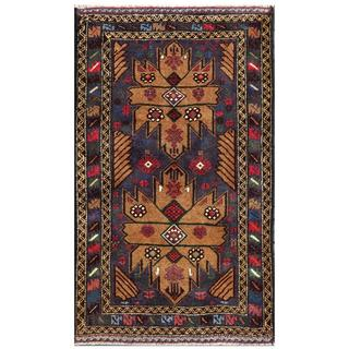 Herat Oriental Afghan Hand-knotted Tribal Balouchi Wool Area Rug (2'7 x 4'5)