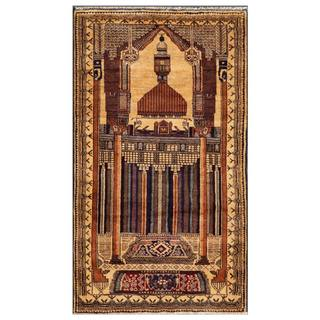 Herat Oriental Afghan Hand-knotted Tribal Balouchi Gold/ Blue Wool Area Rug (2'9 x 4'11)