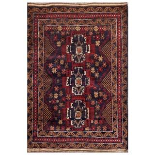 Herat Oriental Afghan Hand-knotted Tribal Balouchi Wool Area Rug (3'1 x 4'4)