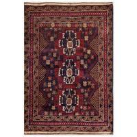 Handmade Herat Oriental Afghan Tribal Balouchi Wool Area Rug  - 3'1 x 4'4 (Afghanistan)