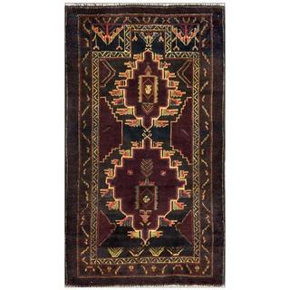 Herat Oriental Afghan Hand-knotted Tribal Balouchi Wool Area Rug (2'8 x 4'8)