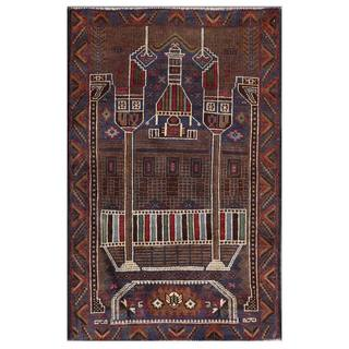 Herat Oriental Afghan Hand-knotted Tribal Balouchi Blue/ Ivory Wool Rug (2'7 x 4'4)