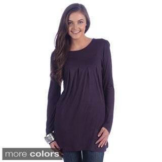 La Cera Women's Rayon Knit Long Sleeve Tunic