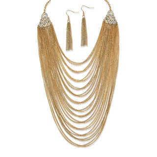 PalmBeach 2 Piece Multi-Chain Jewelry Necklace and Earrings Set in Yellow Gold Tone Bold Fashion