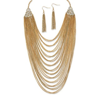2 Piece Multi-Chain Jewelry Necklace and Earrings Set in Yellow Gold Tone Bold Fashion