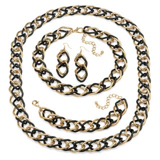 Double Curb-Link Three-Piece Set in Yellow Gold Tone and Black Rhodium-Plated Bold Fashion