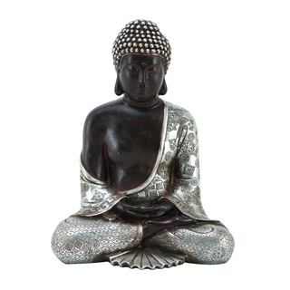 The Curated Nomad Castenada Restful Black and Silver Buddha Figure