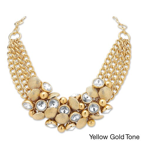 3 Piece Crystal and Bead Necklace, Bracelet and Stud Earrings Set in Yellow or Rose Goldto