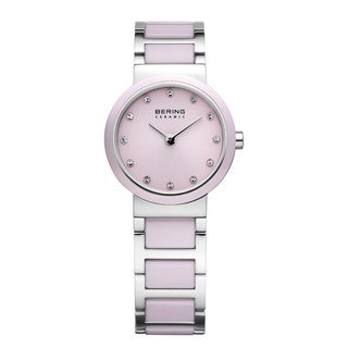 Bering Time Women's Pink/Silver-Tone Ceramic Watch
