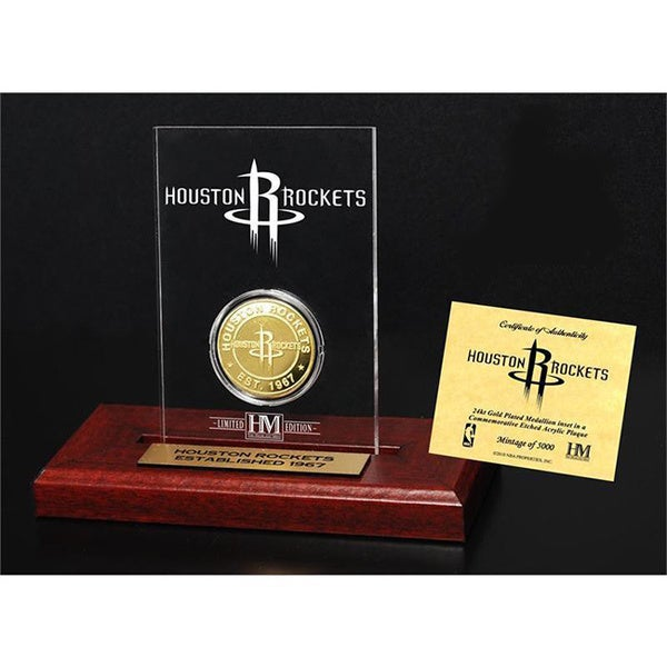Houston Rockets 24k Gold Coin Etched Acrylic