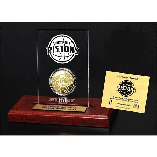 Detroit Pistons 24k Gold Coin Etched Acrylic