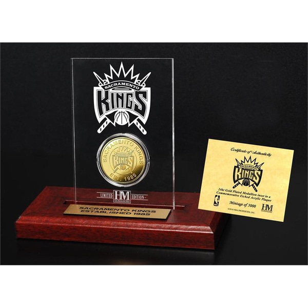 Sacramento Kings 24k Gold Coin Etched Acrylic