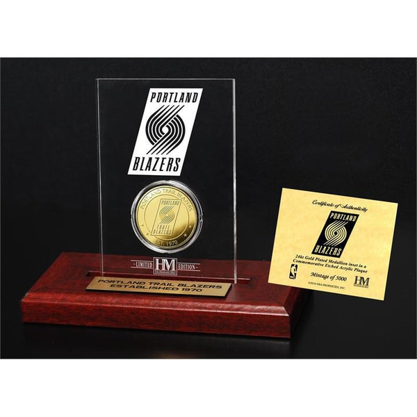 Portland Trail Blazers 24k Gold Coin Etched Acrylic
