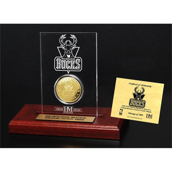 Milwaukee Bucks 24k Gold Coin Etched Acrylic