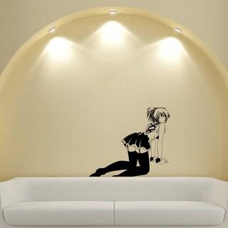 Japanese Manga Girl Stockings Skirt Vinyl Wall Sticker
