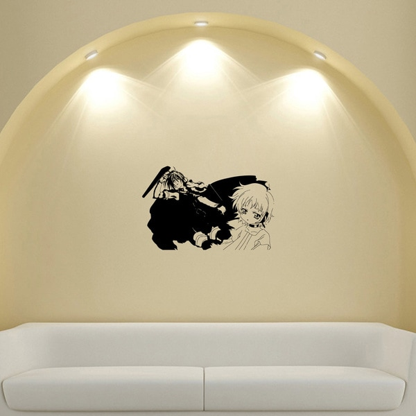 Japanese Manga Two Girls Black Cloak Vinyl Wall Sticker