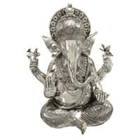 The Curated Nomad Castenada Silvertone Ganesh Polystone Decorative Statue