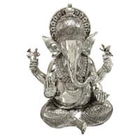 Silvertone Ganesh Polystone Decorative Statue